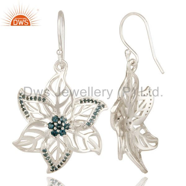 Suppliers 925 Sterling Silver London Blue Topaz Gemstone Floral Design Dangle Earrings