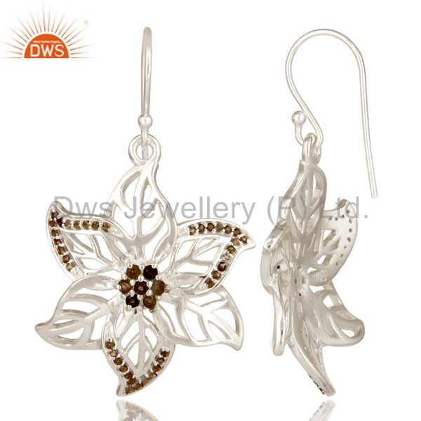 Suppliers 925 Sterling Silver Smoky Quartz Gemstone Floral Design Dangle Earrings