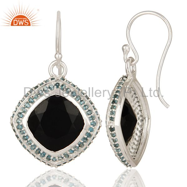 Suppliers Natural Black Onyx And Blue Topaz Gemstone Earrings In Sterling Silver