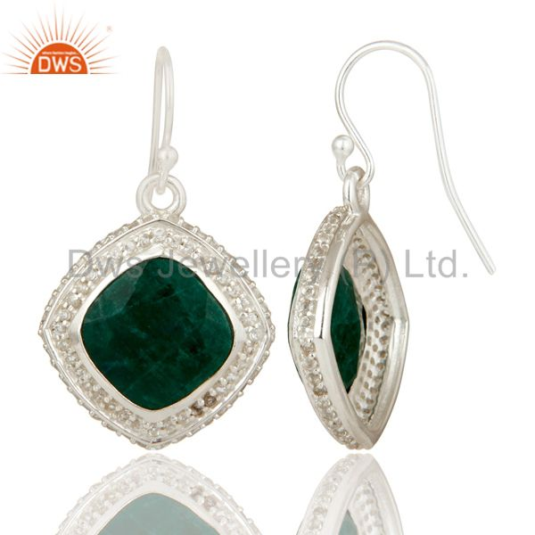 Suppliers Natural Emerald and White Topaz Gemstone Earrings In Sterling Silver