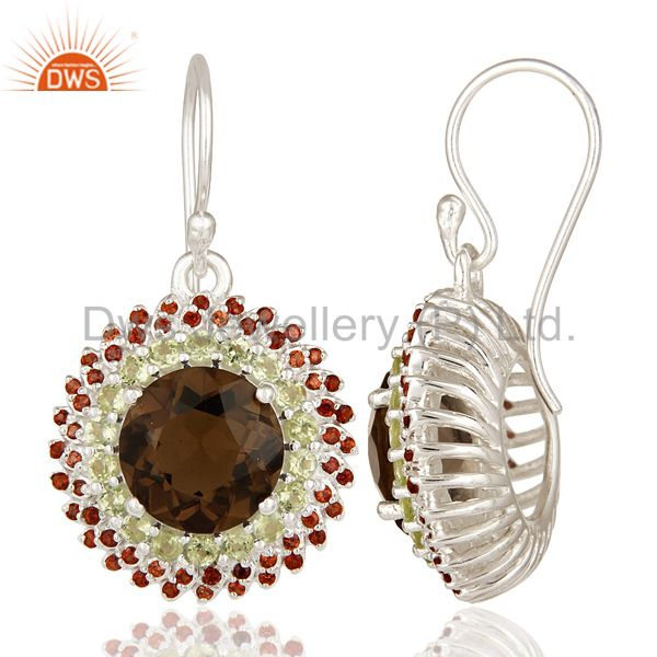 Suppliers 925 Sterling Silver Garnet, Peridot And Smoky Quartz Disc Dangle Earrings