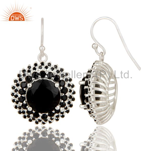 Suppliers 925 Sterling Silver Black Spinel And Black Onyx Gemstone Flower Dangle Earrings