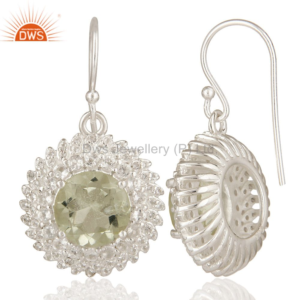 Suppliers 925 Sterling Silver Green Amethyst And White Topaz Gemstone Dangle Earrings