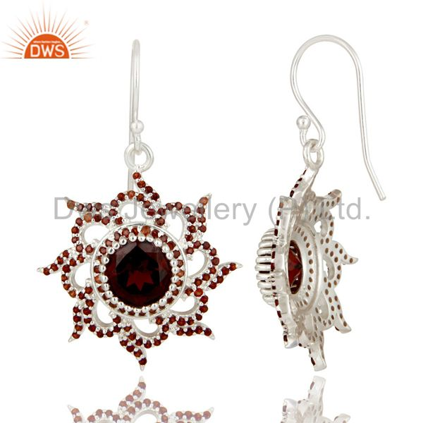 Suppliers Solid 925 Sterling Silver Round Cut Garnet Gemstone Designer Dangle Earrings