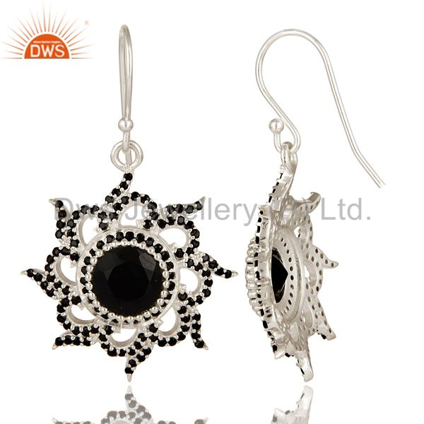 Suppliers Solid 925 Sterling Silver Flower Design Spinal & Black Onyx Drops Earrings