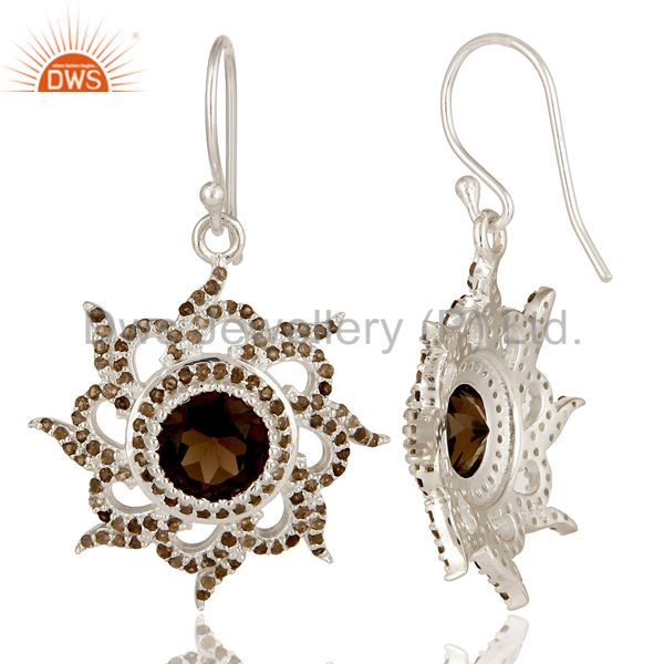 Suppliers Natural Smoky Quartz Designer 925 Sterling Silver Dangle Earrings