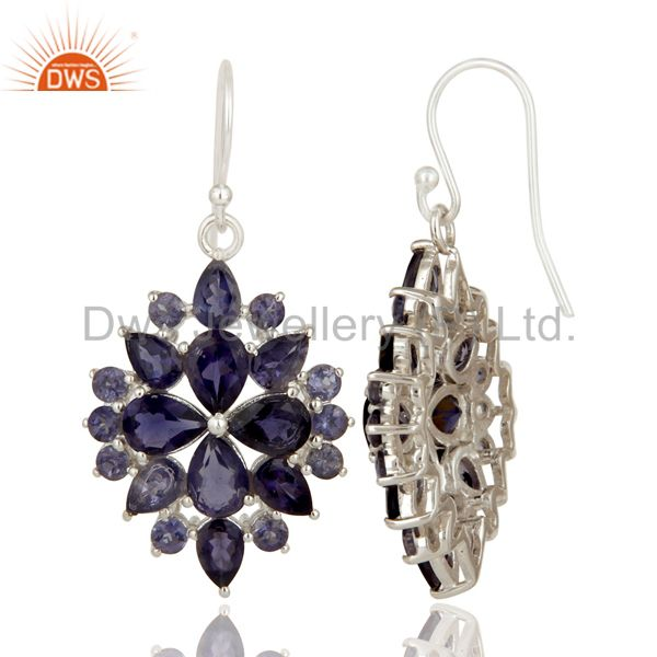 Suppliers Genuine 925 Sterling Silver Iolite Gemstone Solitaire Dangle Earrings