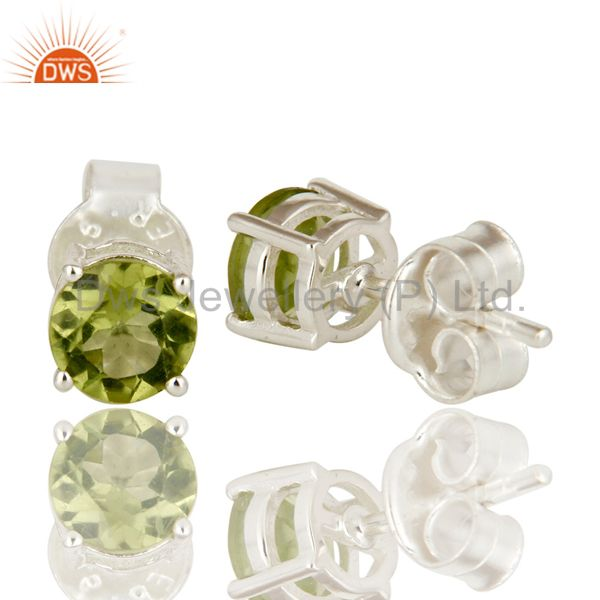 Suppliers 925 Sterling Silver Green Peridot Gemstone Basket Set Stud Earrings