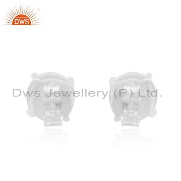 Suppliers Crystal Quartz 92.5 Sterling Fine Silver Stud Earrings Manufacturer India