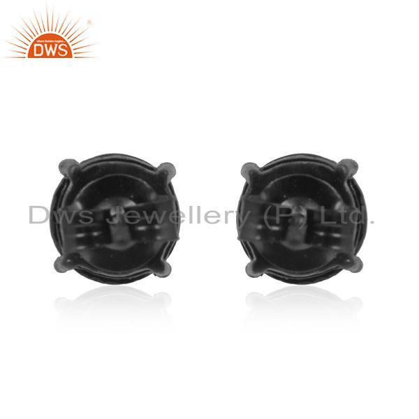 Suppliers Labradorite Gemstone Black Rhodium Plated 925 Silver Stud Earrings Manufacturer