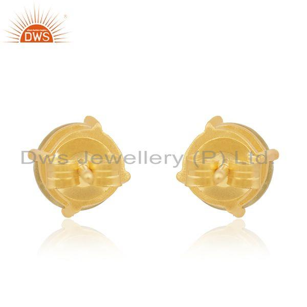 Suppliers Gold Plated 92.5 Silver Lemon Topaz Prong Set Gemstone Stud Earrings Wholesale