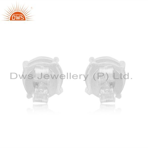 Suppliers Grey Moonstone Fine 925 Sterling Silver Stud Earrings Manufacturer India