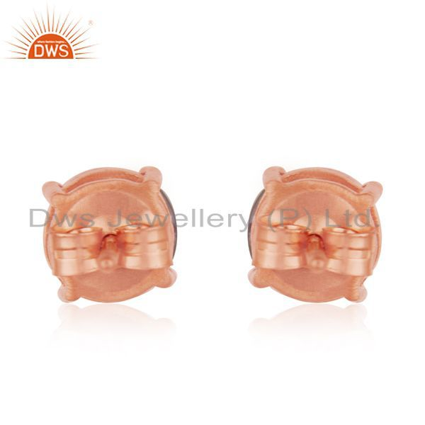 Suppliers Rose Gold Plated Sterling Silver Pink Chalcedony Gemstone Round STud Earrings