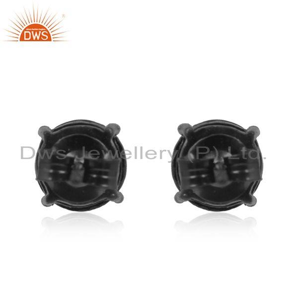 Suppliers Pyrite Gemstone Black Rhodium Plated 925 Silver Stud Earrings Wholesale Supplier