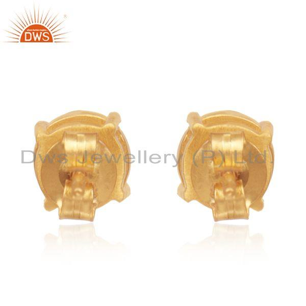Suppliers Pyrite Gemstone 14k Gold Plated 925 Silver Round Stud Earrings Wholesale