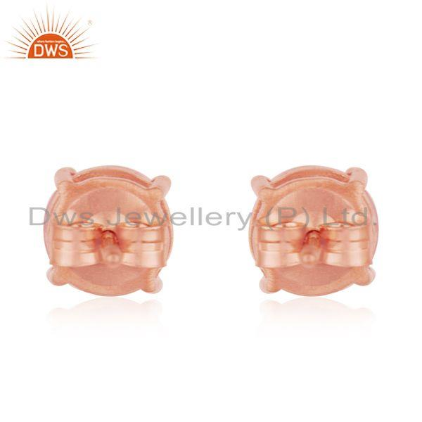 Suppliers Rose Gold Plated 925 Sterling Silver Rose Quartz Round Stud Earrings Wholesale