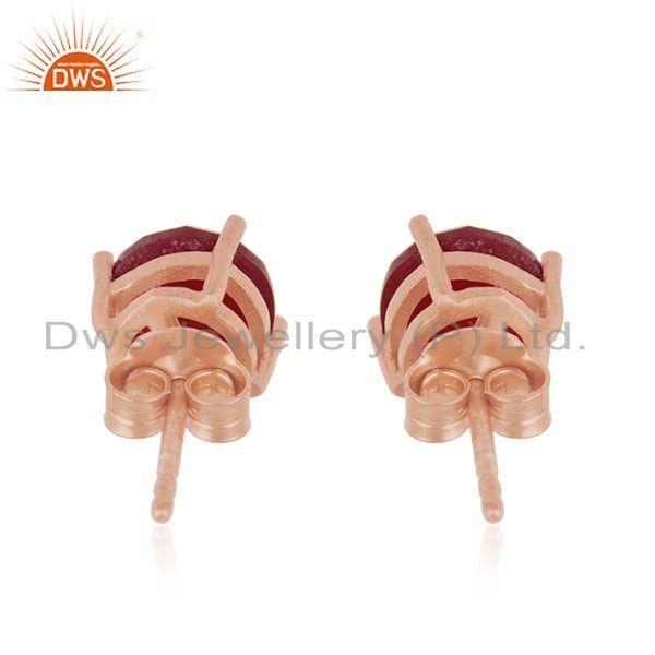 Suppliers Round Ruby Corundum Gemstone Rose Gold Plated 925 Silver Stud Earrings Wholesale
