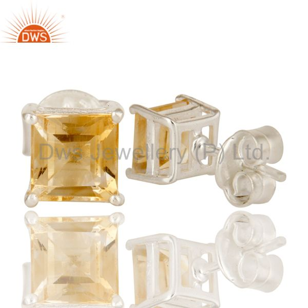 Suppliers 925 Sterling Silver Citrine Gemstone Princess Cut Basket Set Stud Earrings