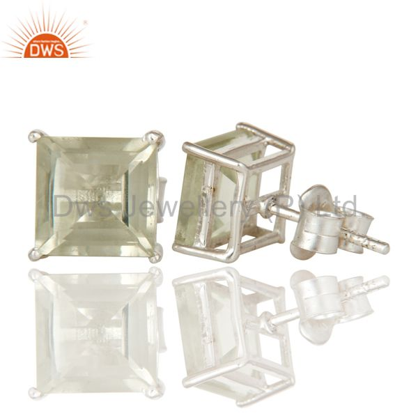 Suppliers Green Amethyst AKA Prasiolite Gemstone 925 Sterling Silver Prong Stud Earrings