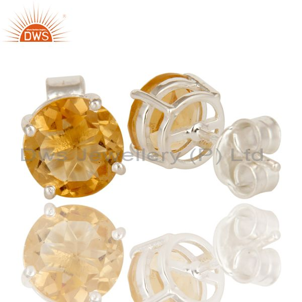 Suppliers 925 Sterling Silver Natural Citrine Gemstone Round Cut Basket Set Stud Earrings