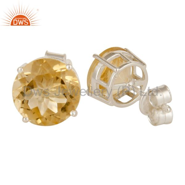 Suppliers 925 Sterling Silver Natural Citrine Round Basket Set Womens Stud Earrings