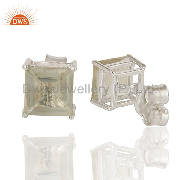 Suppliers 925 Sterling Silver Green Amethyst Gemstone Square Cut Basket Set Stud Earrings