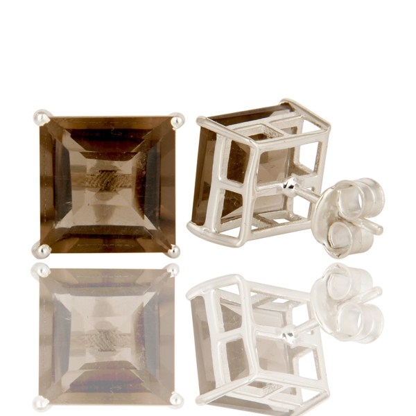 Suppliers Square Cut Smoky Quartz Gemstone Sterling Silver Basket Set Stud Earrings