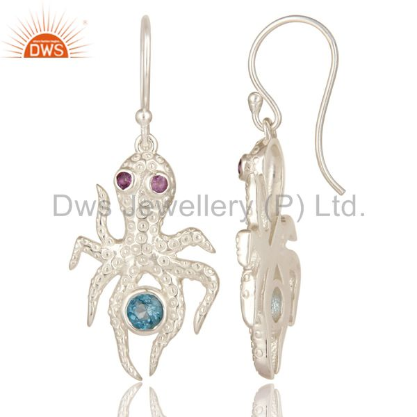 Suppliers Amethyst And Blue Topaz Gemstone Sterling Silver octopus Dangle Earrings