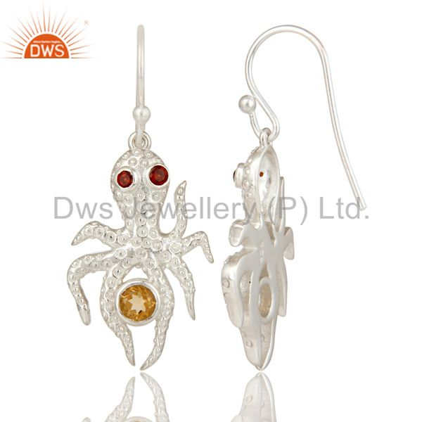 Suppliers Citrine and Garnet Gemstone Sterling Silver Octopus Dangle Earrings