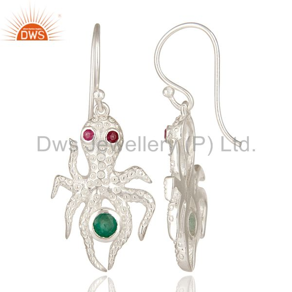 Suppliers Designer Sterling Silver Ruby And Emerald Gemstone Octopus Dangle Earrings