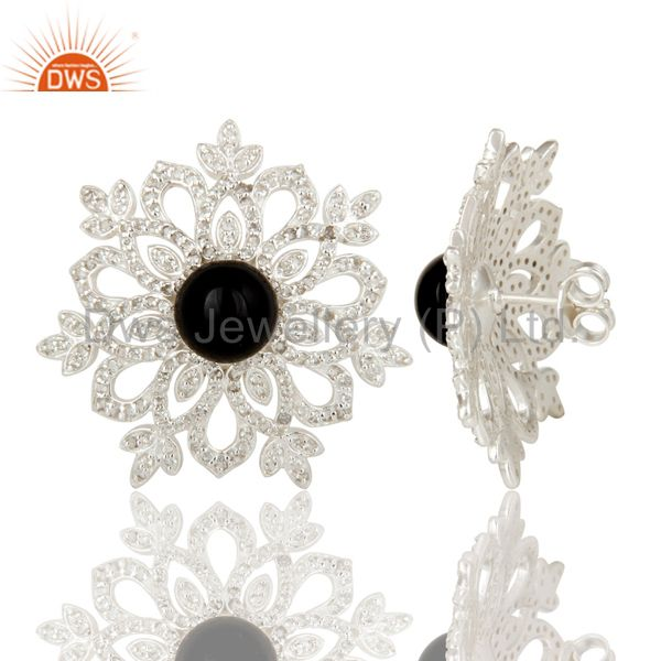 Suppliers Black Onyx and White Topaz Sterling Silver Flower Designer Stud Earring