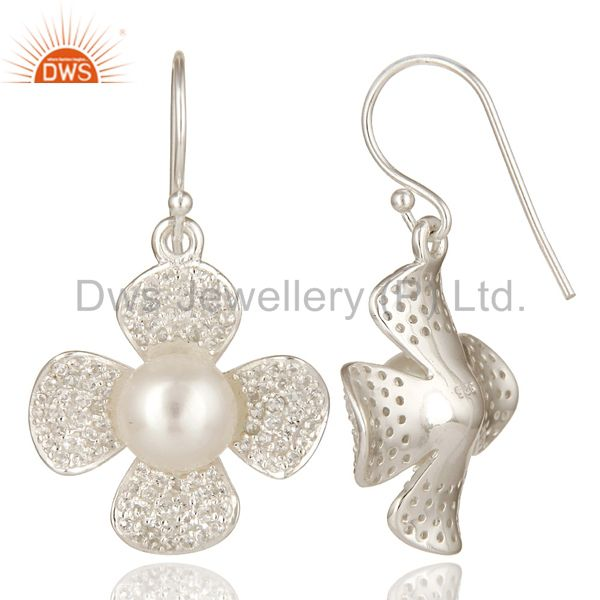 Suppliers Natural Pearl And White Topaz Sterling Silver Gemstone Flower Dangle Earrings