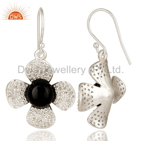 Suppliers Black Onyx And White Topaz Sterling Silver Gemstone Flower Dangle Earrings