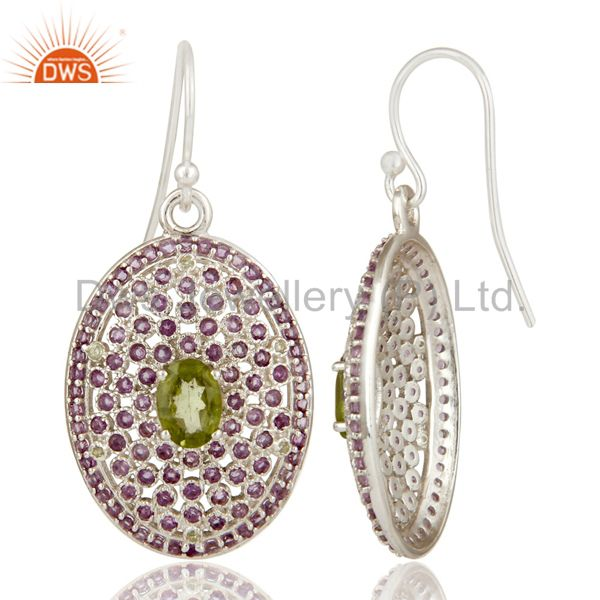 Suppliers Sterling Solid Silver Amethyst and Peridot Gemstone Designer Dangler Earring
