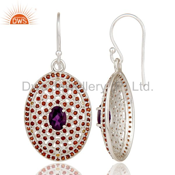 Suppliers Sterling Solid Silver Amethyst, and Garnet Gemstone Designer Dangler Earring