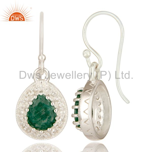 Suppliers Green Emerald Gemstone Sterling Silver Drop Earrings With White Topaz