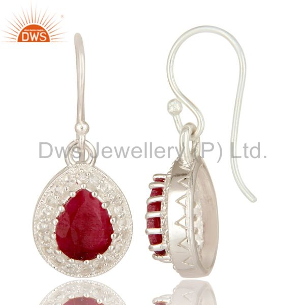 Suppliers Dyed Ruby And White Topaz Sterling Silver Gemstone Drop Earrings