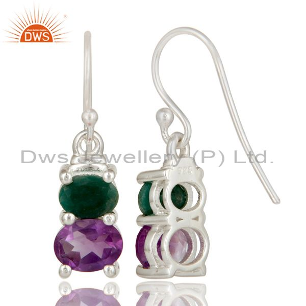 Suppliers 925 Sterling Silver Amethyst And Emerald Prong Set Gemstone Dangle Earrings