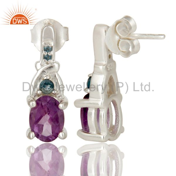 Suppliers 925 Sterling Silver Amethyst and London Blue Topaz Post Stud Earrings