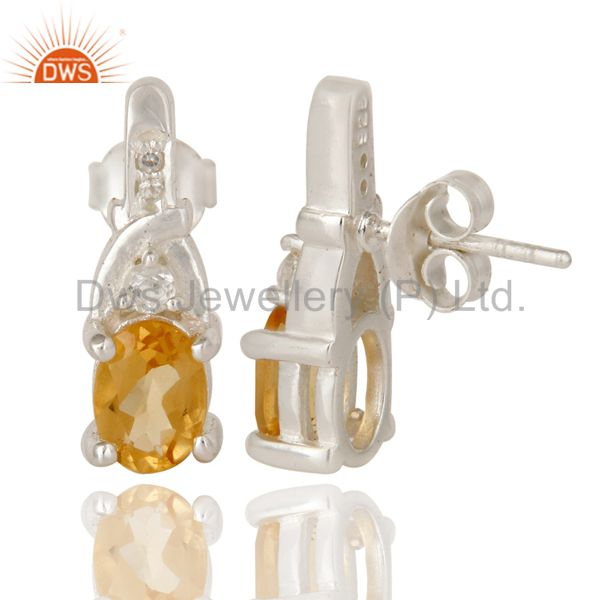 Suppliers 925 Sterling Silver Natural Citrine And White Topaz Post Stud Earrings