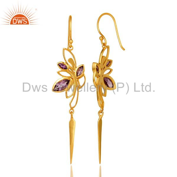 Suppliers 14K Yellow Gold Plated Amethyst Gemstone Modern Design Dangle Earrings