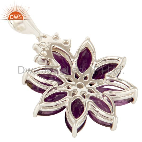 Suppliers 925 Sterling Silver Amethyst Cluster Flower Pendant With White Topaz