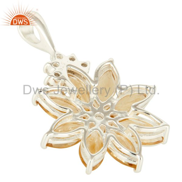 Suppliers Natural Citrine 925 Sterling Silver Solitaire Pendant With White Topaz