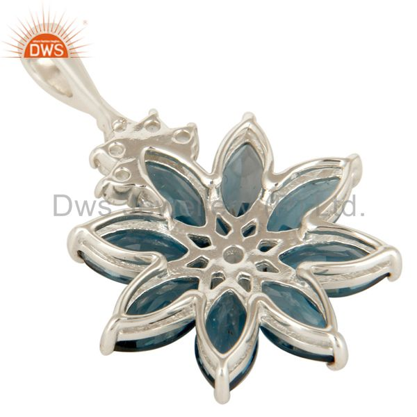 Suppliers 925 Sterling Silver London Blue Topaz Flower Cluster Pendant With White Topaz