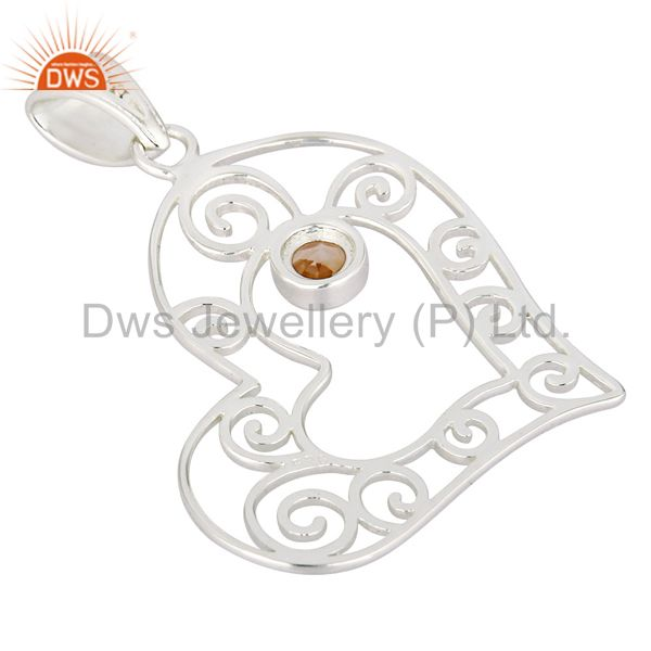 Suppliers Natural Citrine Gemstone Heart Designs Solid 925 Sterling Silver Pendant