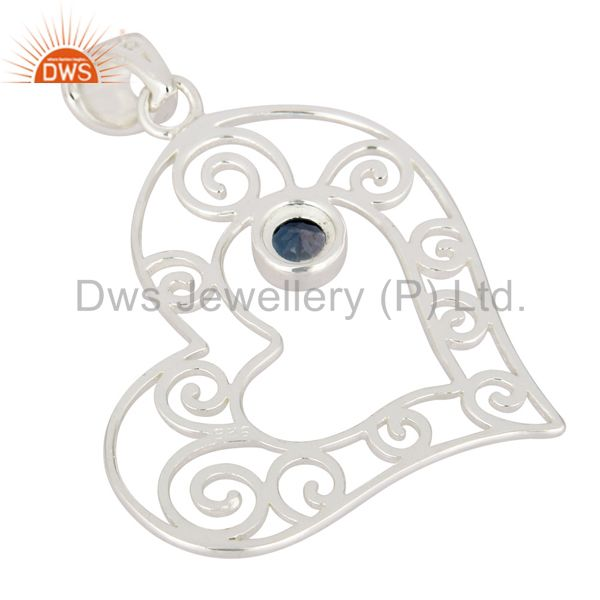 Suppliers Genuine 925 Sterling Silver Heart Design Pendant With Natural London Blue Topaz