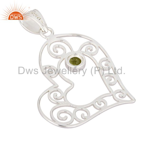 Suppliers 925 Sterling Silver Natural Peridot Gemstone Heart Designer Pendant