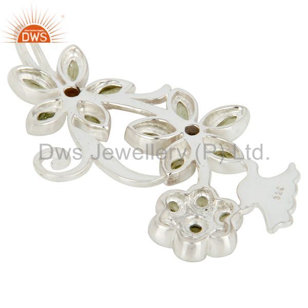 Suppliers Natural Peridot Gemstone Sterling Silver Flower Design Pendant