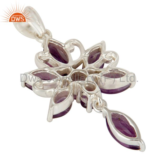 Suppliers Natural Purple Amethyst Gemstone Sterling Silver Cluster Designer Pendant