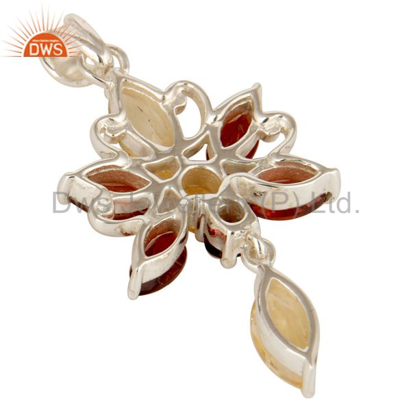 Suppliers 925 Sterling Silver Natural Garnet & Citrine Gemstone Butterfly Cluster Pendant